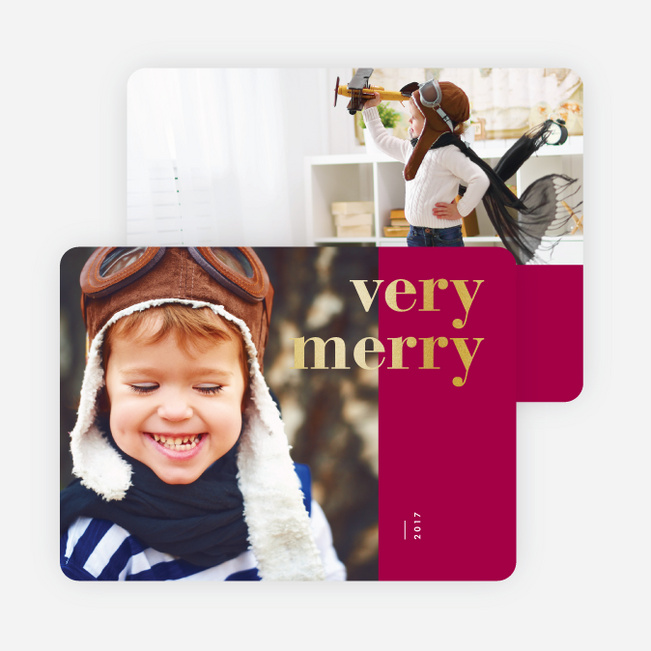 Foil Wishes Christmas Cards - Red
