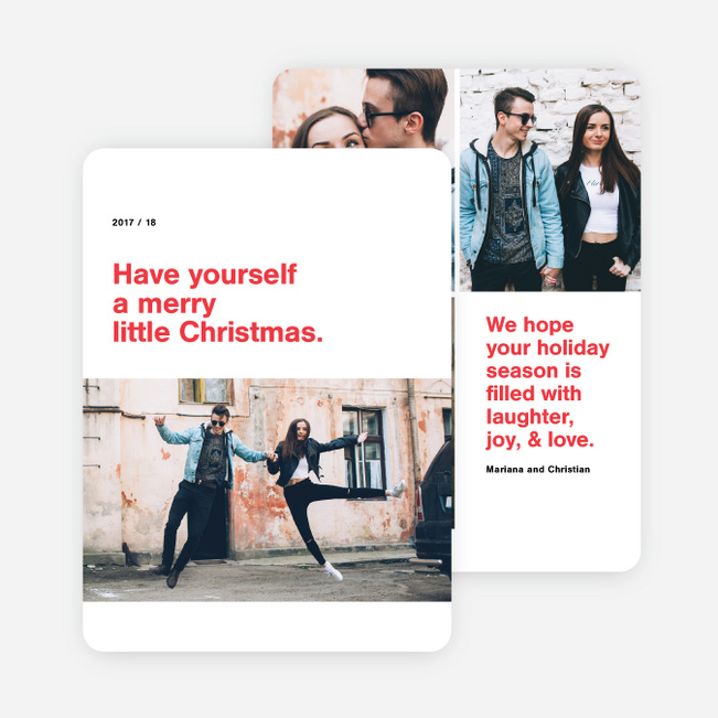 Photo Type Holiday Cards - Red