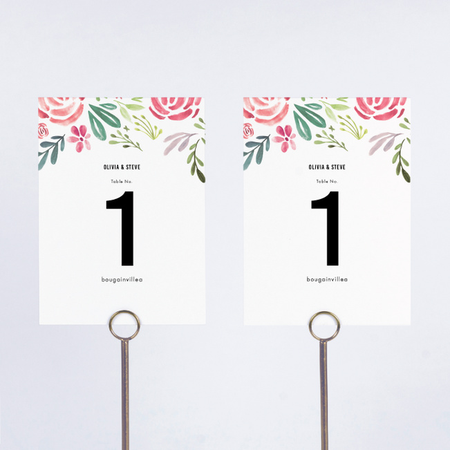 Floral Water Colors Wedding Table Cards - Red