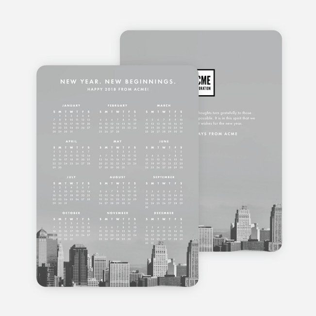 Calendar Wishes Corporate Holiday Cards - White