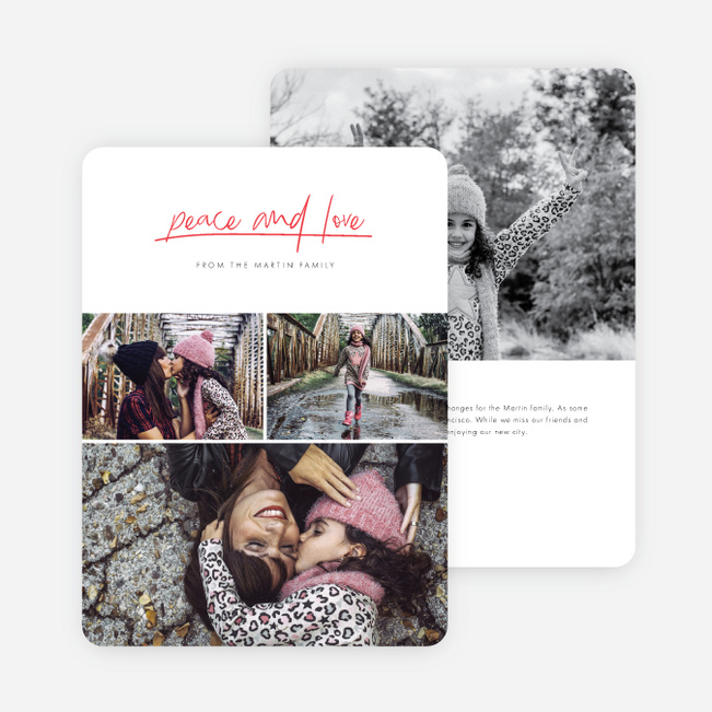 Peace & Love Holiday Cards - Red