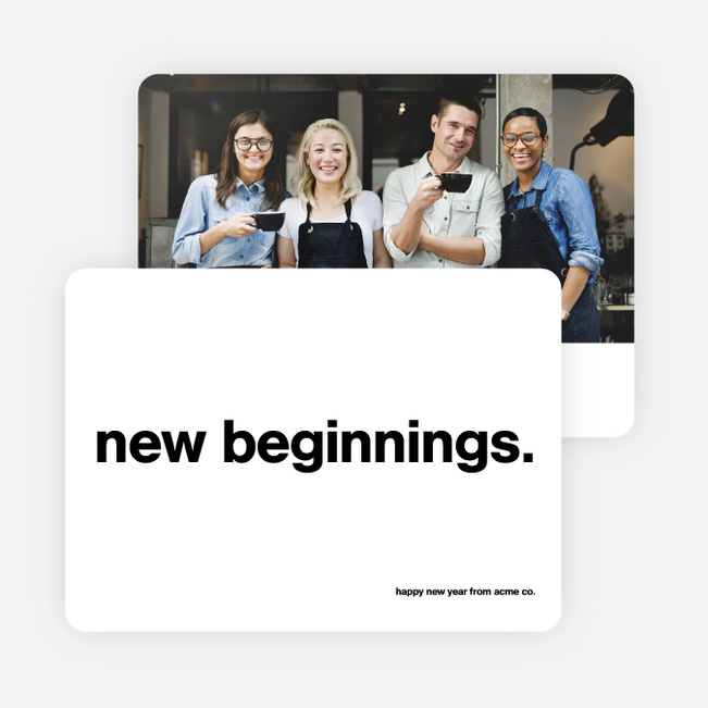 New Beginnings Corporate Photo Holiday Cards - Black