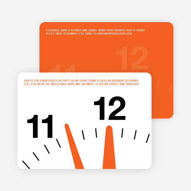 New Year's Eve Party Invitations: Countdown Clock - Tangerine Orange