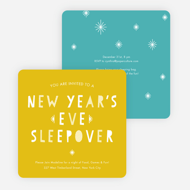 new years eve sleepover party invitations yellow