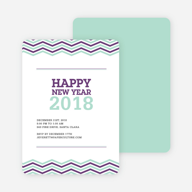 New Year Resolutions Party Invitations - Purple