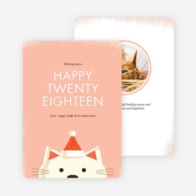 Retro Cat New Years Cards - Pink