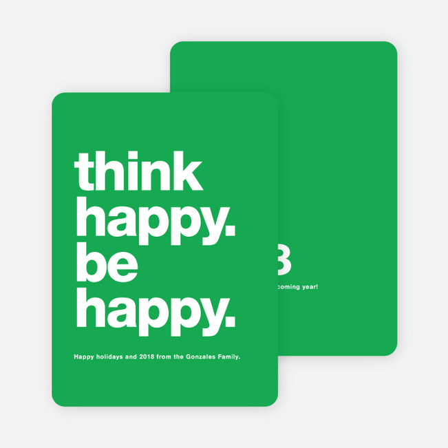 Be Happy New Year Cards - Green