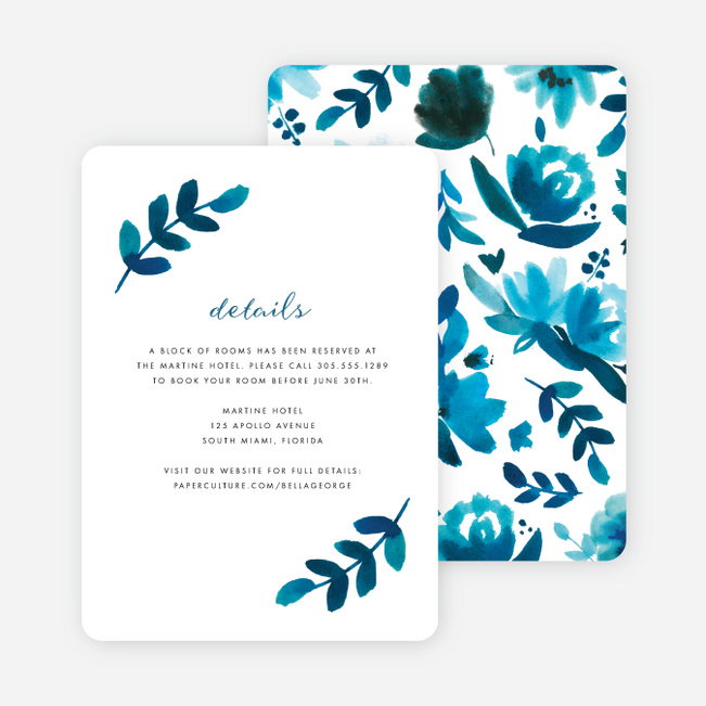 Bohemian Floral Wedding Information Cards - Blue