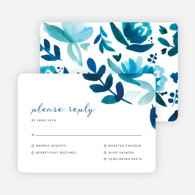 Bohemian Floral Wedding Response Cards - Blue