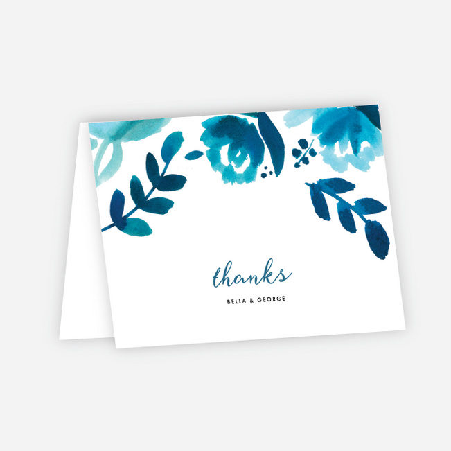 Bohemian Floral Wedding Thank You Cards - Blue