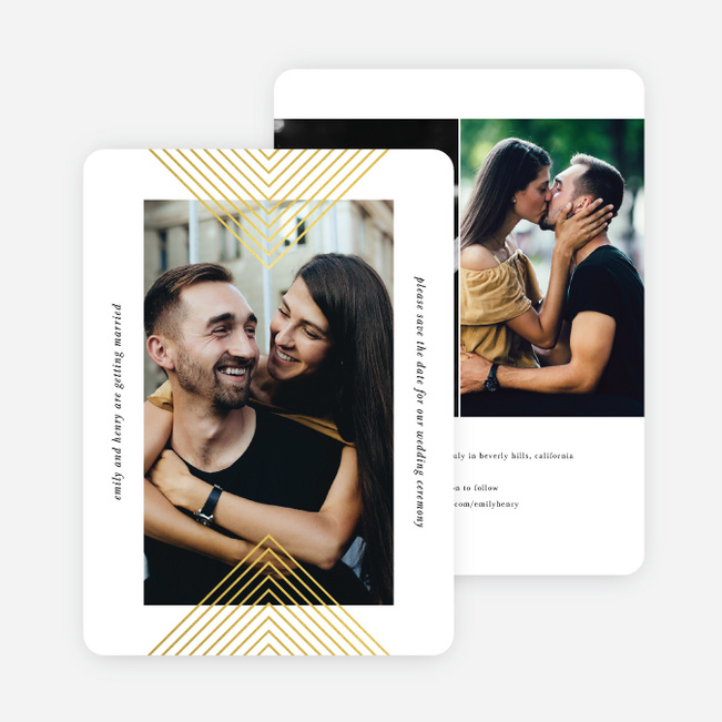 Foil Mirrored Angles Save the Date Cards - Yellow