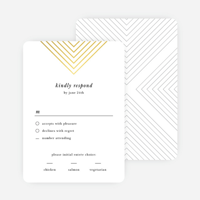 Foil Mirrored Angles Wedding Response Cards - Yellow