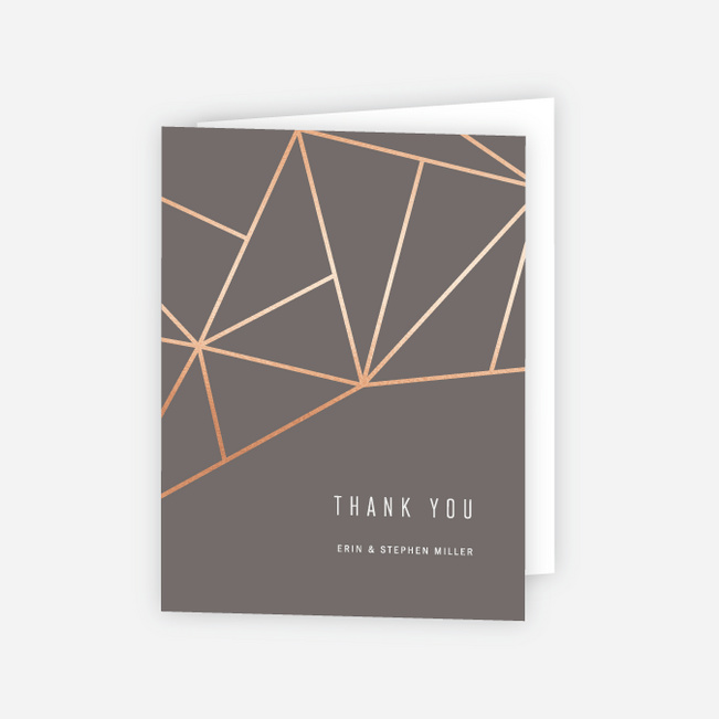 Foil Shining Facets Wedding Thank You Cards - Brown