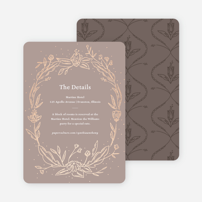 Foil Surroundings Wedding Information Cards - Brown