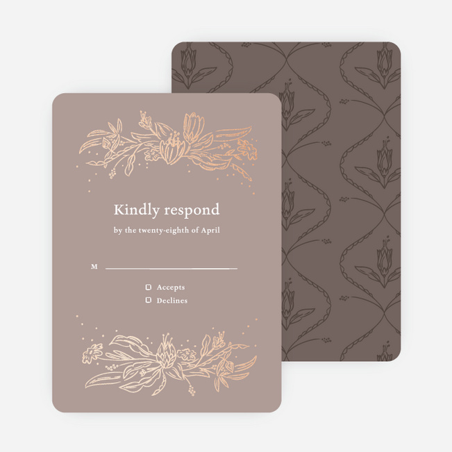 Foil Surroundings Wedding Response Cards - Brown