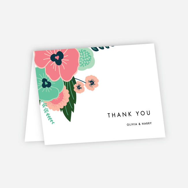 Modern Bouquet Wedding Thank You Cards - Green