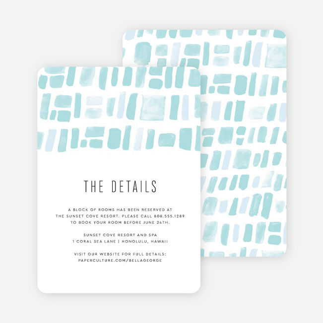 Painted Squares Wedding Information Cards - Blue
