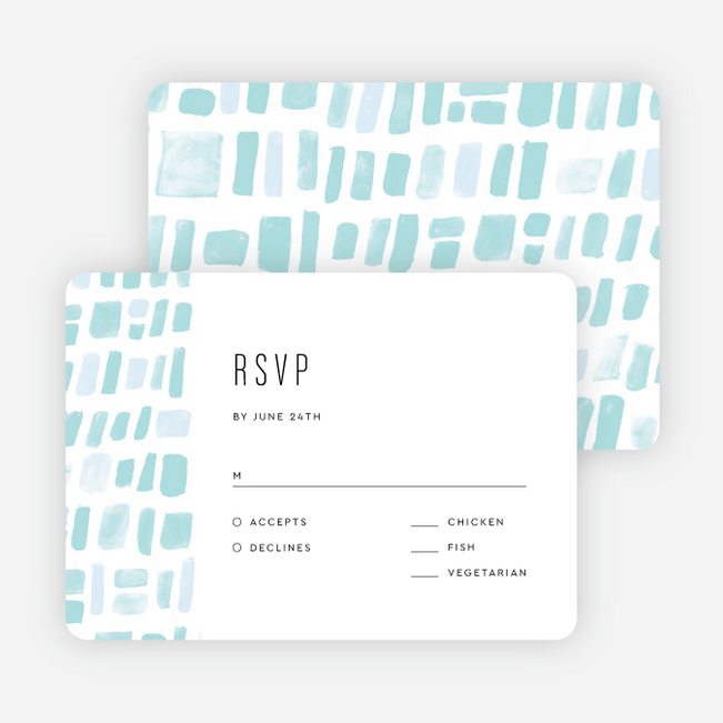 Painted Squares Wedding Response Cards - Blue