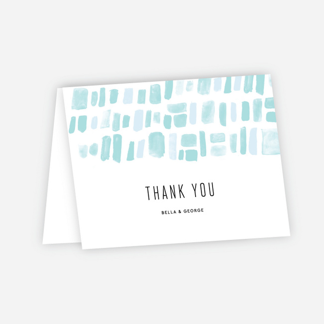 Painted Squares Wedding Thank You Cards - Blue