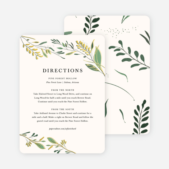 Rustic Forest Wedding Information Cards - Yellow