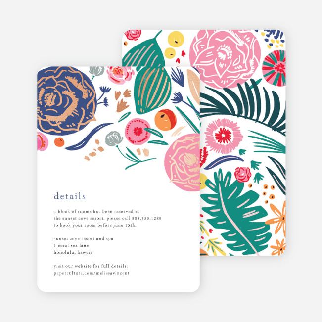 Tropical Print Wedding Information Cards - Multi