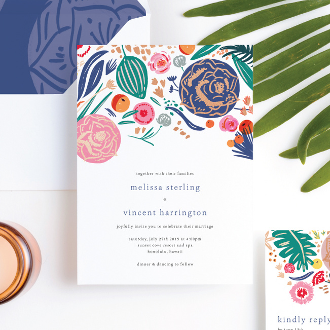 Tropical Print Wedding Invitation Suites - Multi