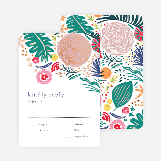 Tropical Print Wedding Response Cards - Multi