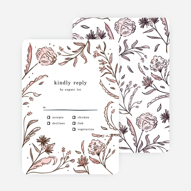 Vintage Frame Wedding Response Cards - Pink