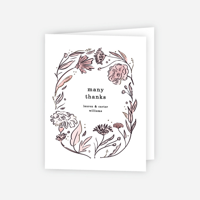 Vintage Frame Wedding Thank You Cards - Pink