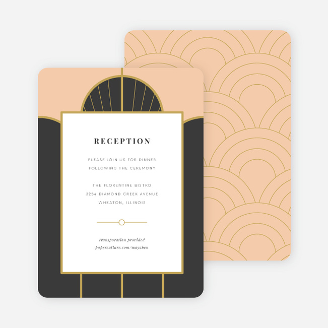 Deco Arches Wedding Information Cards - Pink