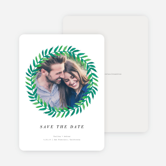 Minimal Laurel Save the Date Cards - White