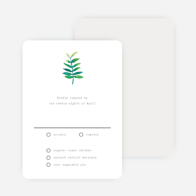 Minimal Laurel Wedding Response Cards - White