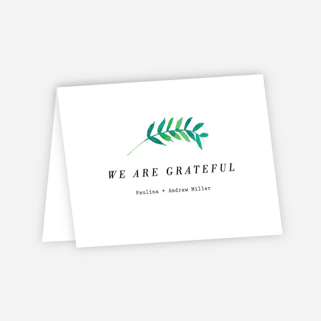 Thank you cards and note cards paper culture minimal laurel wedding thank you cards white thecheapjerseys Image collections
