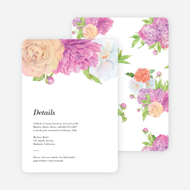 Painted Flowers Wedding Information Cards - Multi