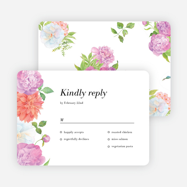 Painted Flowers Wedding Response Cards - Multi
