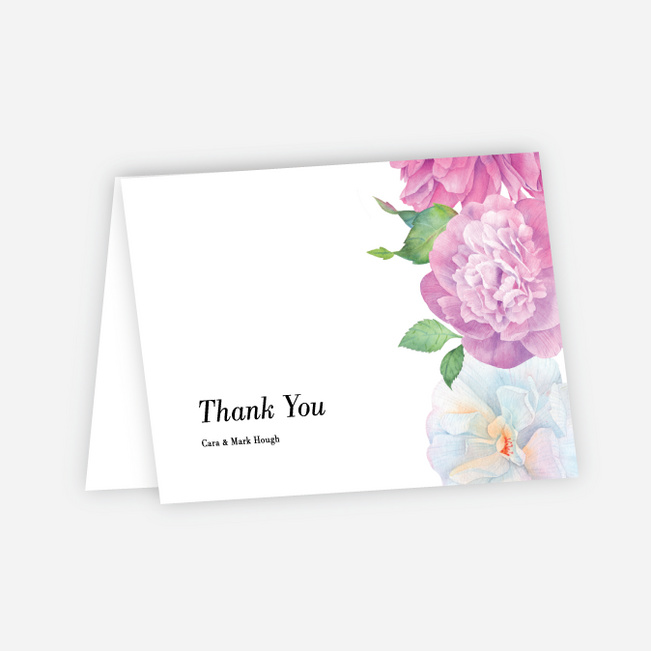 Painted Flowers Wedding Thank You Cards - Multi