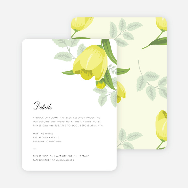 Retro Floret Wedding Information Cards - Yellow