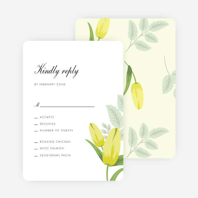 Retro Floret Wedding Response Cards - Yellow