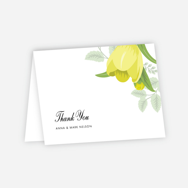 Retro Floret Wedding Thank You Cards - Yellow