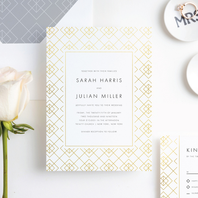Union of Squares Wedding Invitation Suites - Yellow