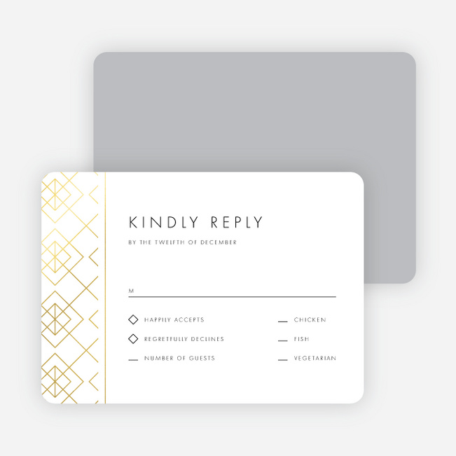 Union of Squares Wedding Response Cards - Yellow
