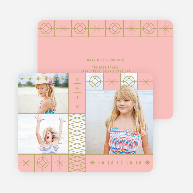 Decorative Stars Christmas Cards - Pink