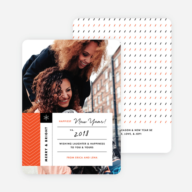 Modern Tags New Year Cards - Orange