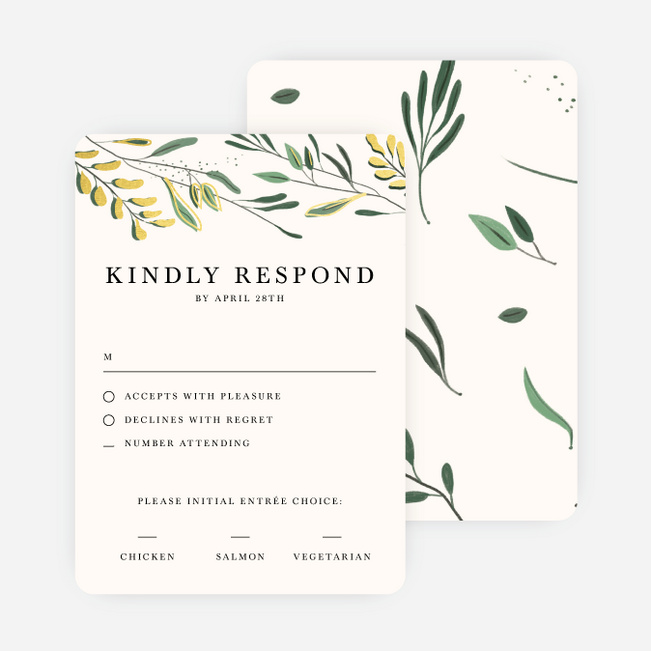 Rustic Forest Wedding Response Cards - Yellow
