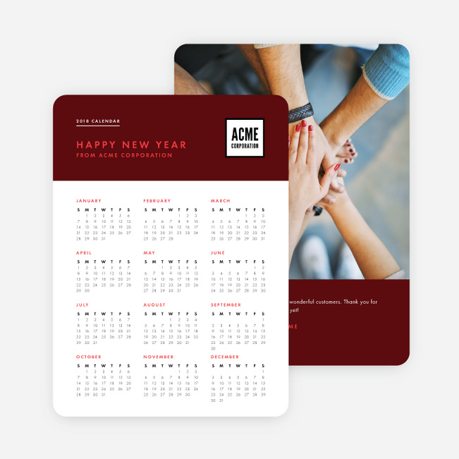 Work Calendar Corporate Holiday Cards - Red