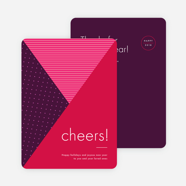 Intersecting Patterns Corporate New Year Cards - Red