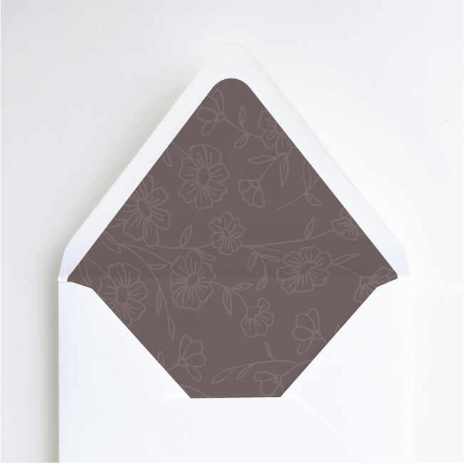 Elegant Roses Wedding Envelope Liners - Brown