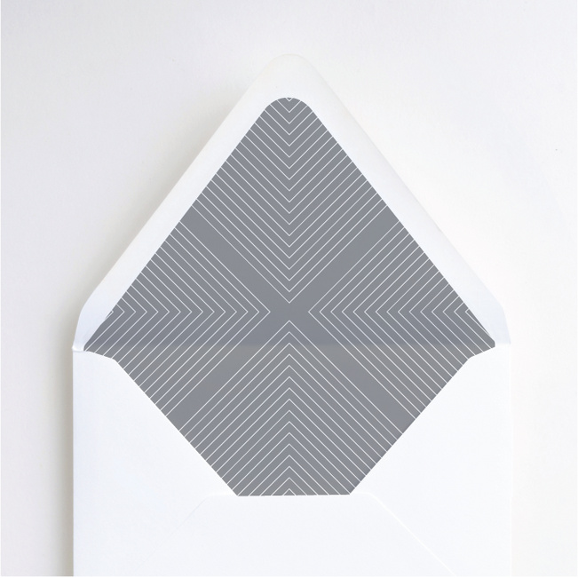 Foil Mirrored Angles Wedding Envelope Liners - Gray