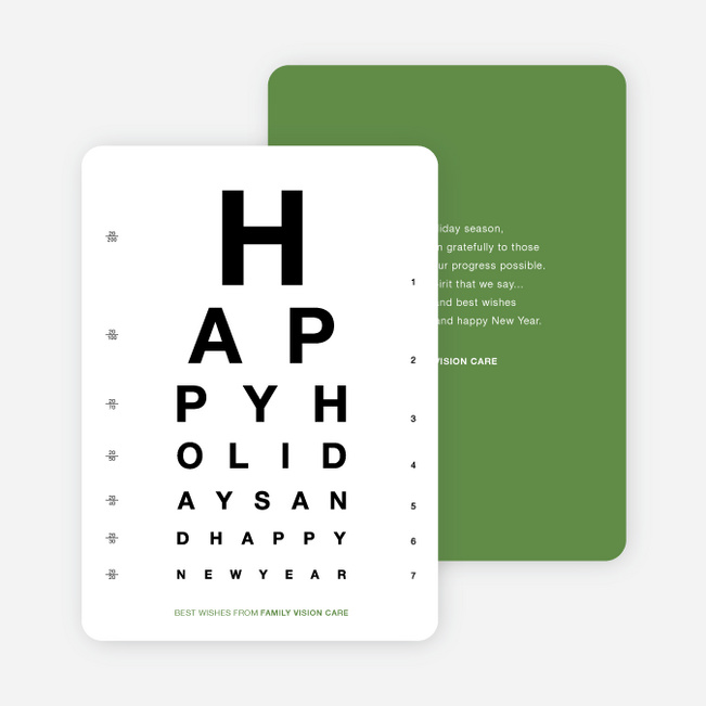 Happy Holidays Corporate Eye Chart Cards - Green