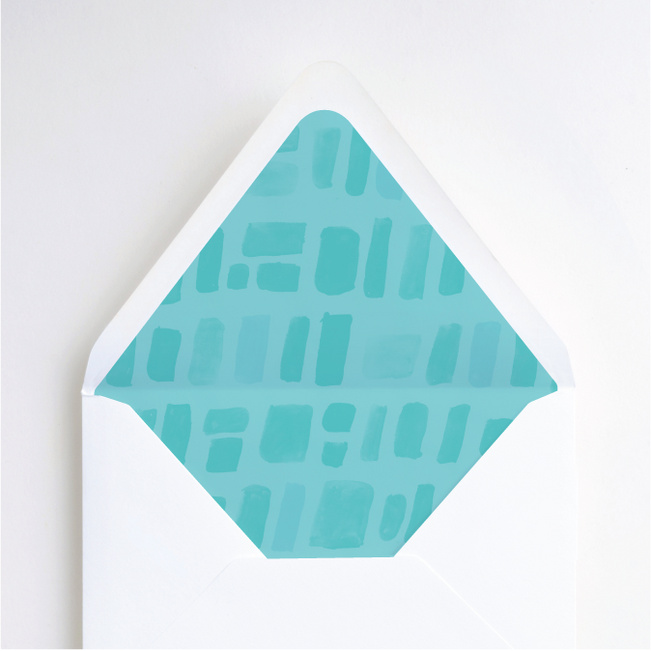 Painted Squares Wedding Envelope Liners - Blue